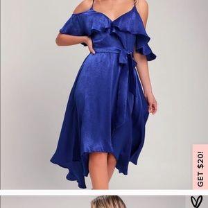 Lulu's Cobalt Blue Satin Wrap Dress